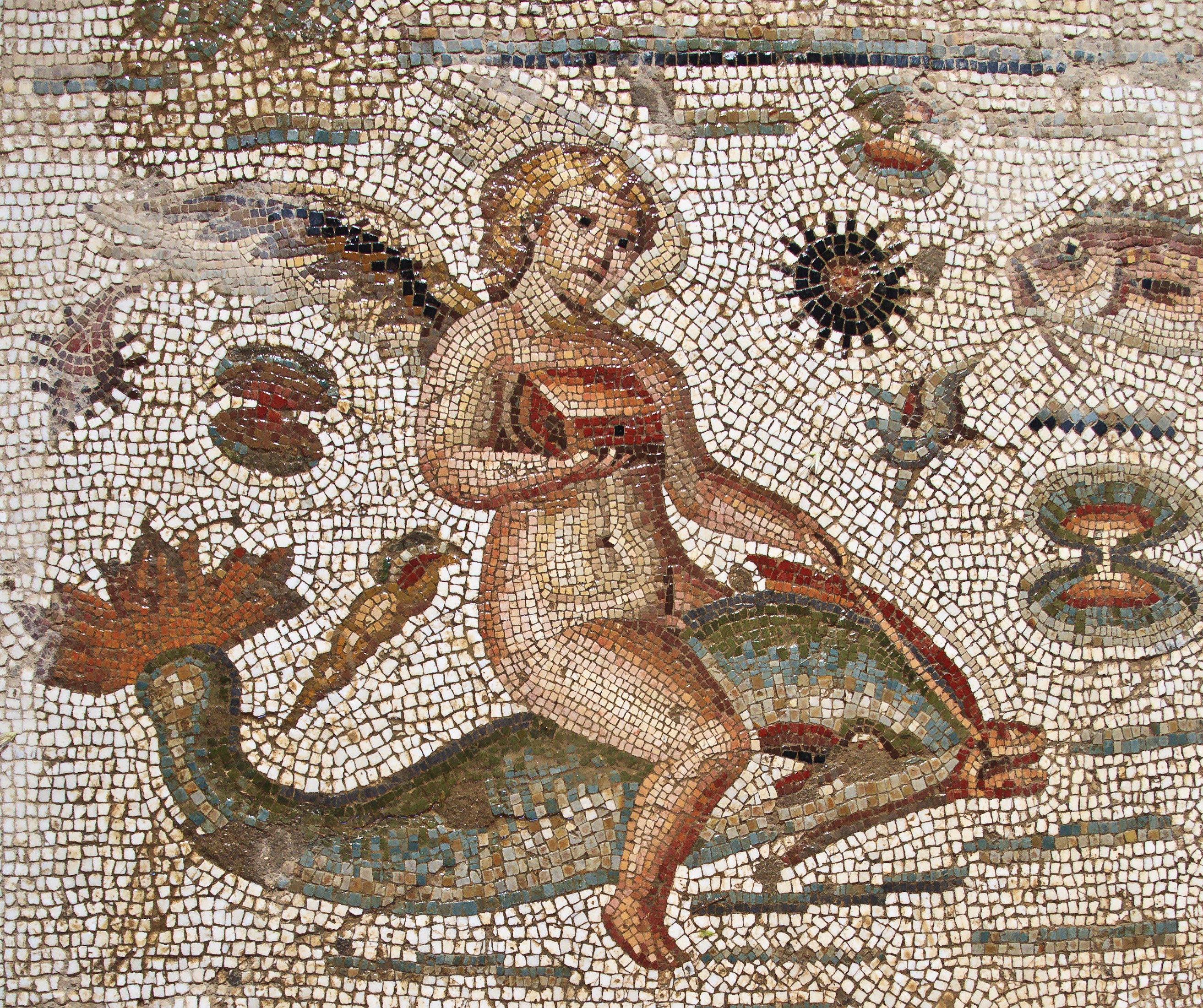 Römisches Mosaik, Tunesien, Angel Riding Dolphin