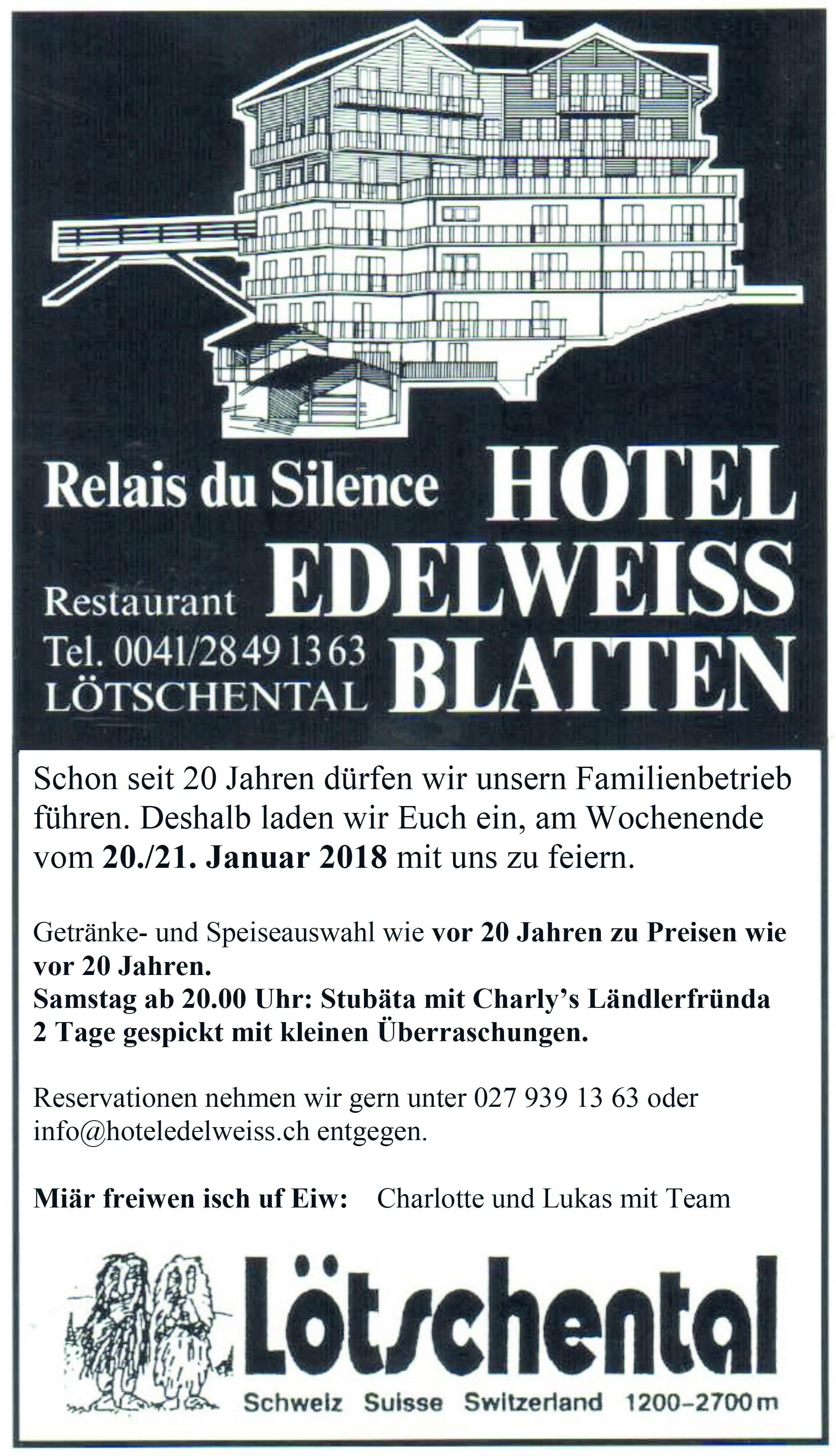 Hotel Edelweiss Jubiläum - Live Musik und Preise wie vor 20 Jahren