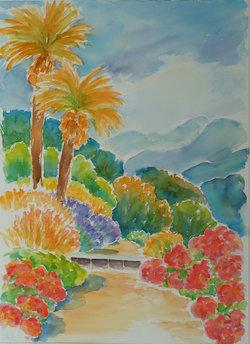 Weg mit Palmen